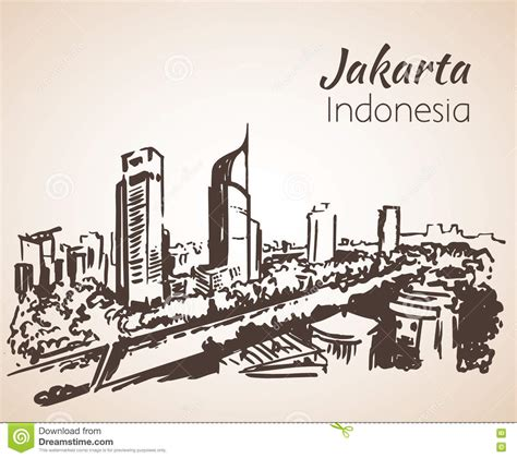 Pisau Royalty Line Di Indonesia jakarta cityscape sketch stock vector image 80086949