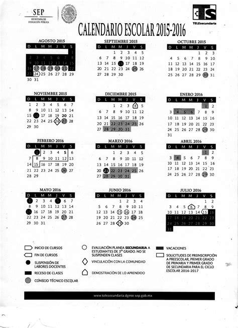 Calendario Sep 2015 Y 2016 Supervisi 243 N 07 De Telesecundaria Calendario Escolar 2015