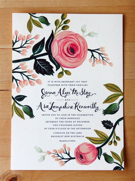 s floral wedding invitations from rifle paper co