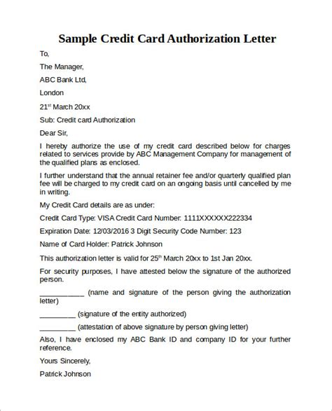 Letter To Credit Card Company To Account Due To Sle Credit Card Authorization Letter 9 Free Exles Format