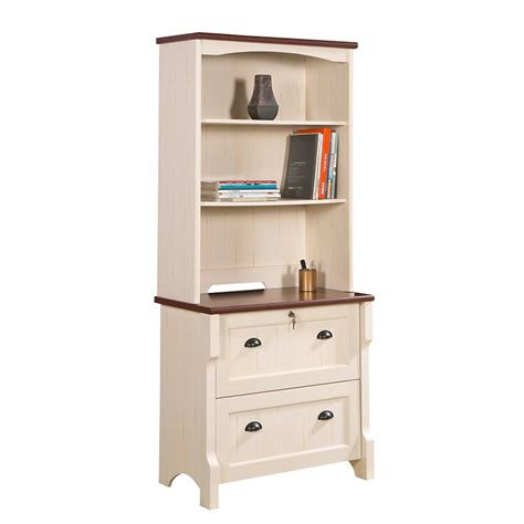 nepean antique white lateral file cabinet  hutch