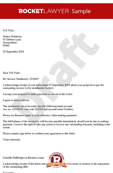 Agreement Letter To Receive Payment Letter Accepting Payment In Instalments Instalment Agreement