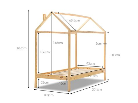 Single Bed Frame Dimensions Scandinavian Wood Timber Single Size House Shaped Bed