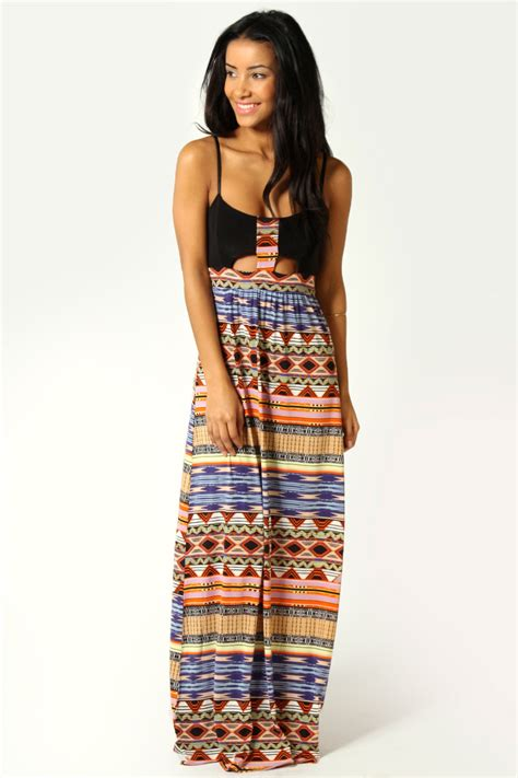 Tribal Maxy Dress boohoo womens naila tribal print cut out front
