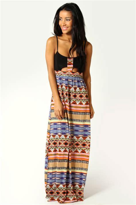 Dress Naila 5warna boohoo womens naila tribal print cut out front detail maxi dress in multi ebay