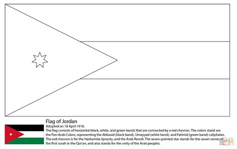 flag of jordan coloring page free printable coloring pages