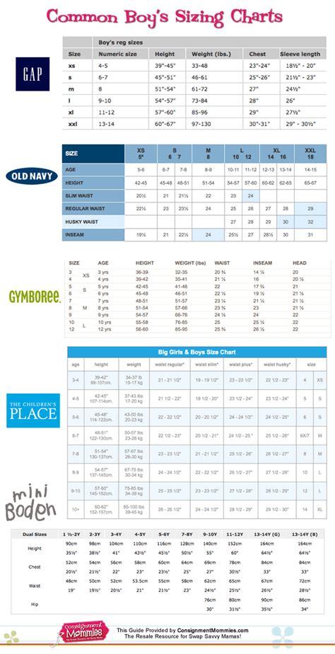 clothing sizes common clothing size charts for