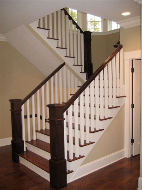 new stair banisters wood treads white and wood banister stairways