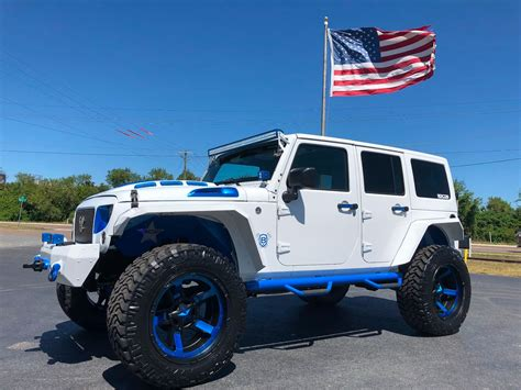 white and blue jeep 2018 jeep wrangler jk unlimited custom white n blue lifted