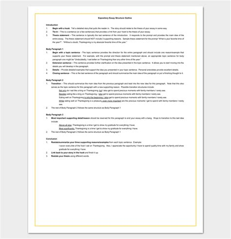 Format For Expository Essay by 30 Essay Outline Templates Free Sles Exles And Formats