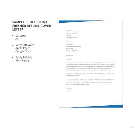 sample professional fresher resume cover letter