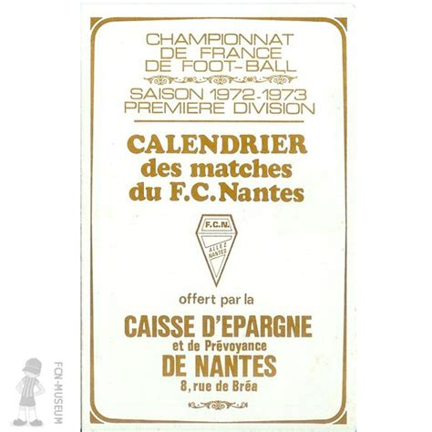 Calendrier De 1972 Calendrier 1972 73 Calendrier Fc Nantes