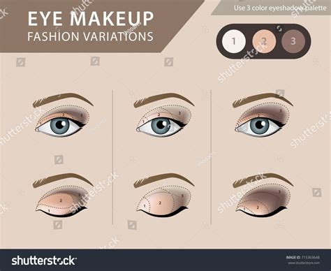 Eye Template For Makeup Eye Makeup Tutorial Eyeshadow Vector Template Stock Vector Easy Makeup Eye Makeup Template