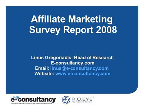 marketing survey report sle affiliate marketing survey report 2008