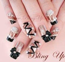 Ribbon Nail Glitter black nail tips with chagne glitter nail color 3d nail ribbon bow and rhinestones