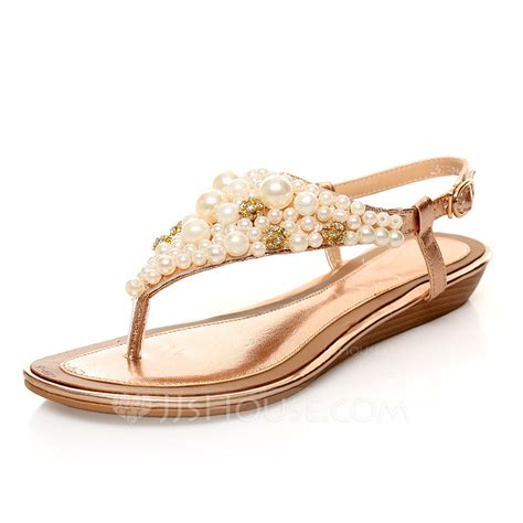 Pearl Flats real leather flat heel sandals flats with imitation pearl