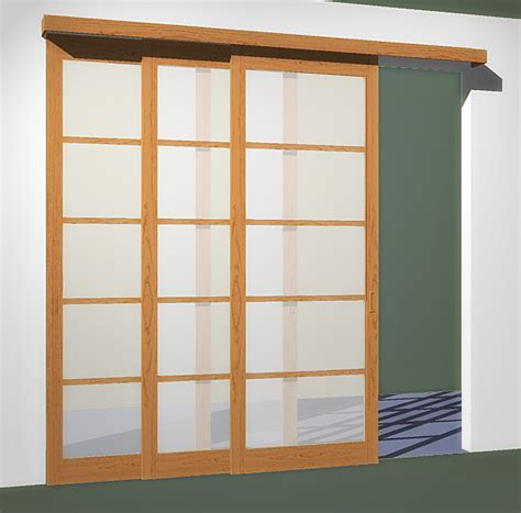 3 sliding doors 3 tracks fits openings less than 102in x