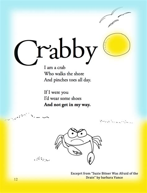 child poem summer children s poem about a crab on the