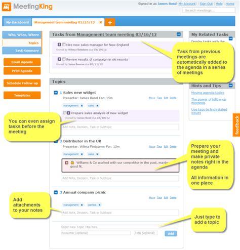 Creating An Agenda Using A - meeting agenda software create an agenda with meetingking