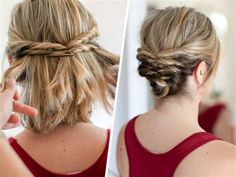quick and easy hairstyles for short hair bob this quick messy updo for short hair is so cool messy