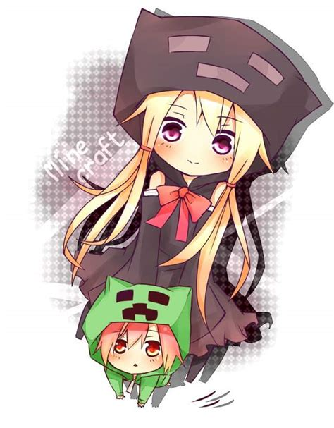let s draw for chibi minecraft volume apps 148apps ender girl and creeper girl anime amino