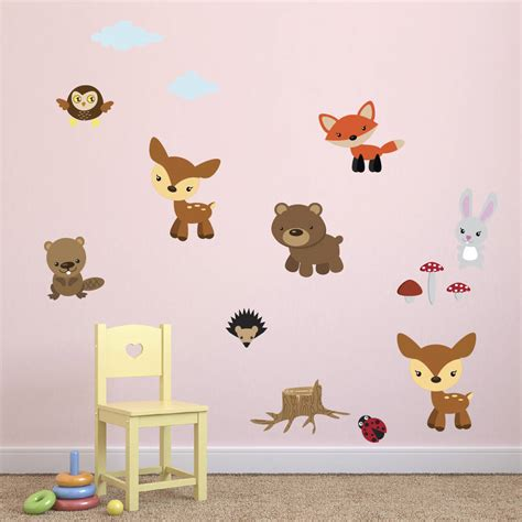 wall stickers animals forest animals fabric wall stickers by mirrorin