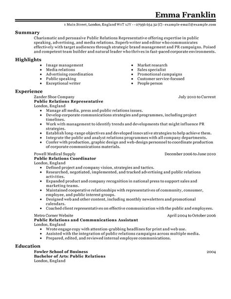 Pr Resume by Best Relations Resume Exle Livecareer