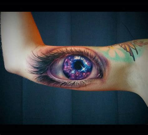 galaxy eye realistic arm piece best tattoo design ideas