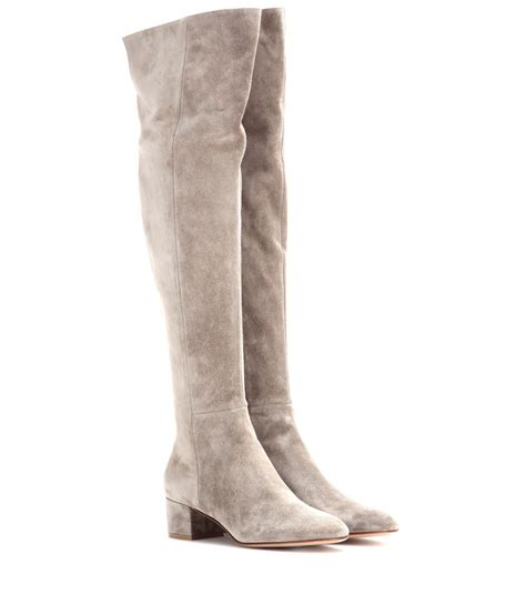 above knee boots gianvito suede the knee boots in beige lyst