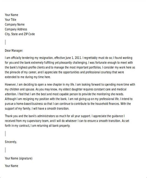 Resignation Letter Exles With Reasons Sle Resignation Letter For Family Reason 5 Exles In Pdf Word