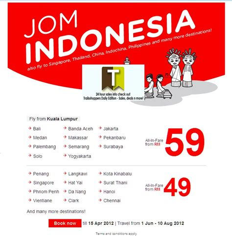 airasia promo code indonesia airasia jom indonesia promo 9 15 apr 2012 trailsshoppers