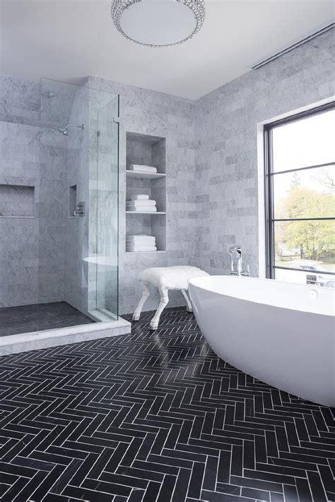 Gray Marble Tiled Niche Towel Shelves   Modern   Bathroom