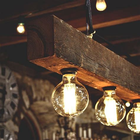 Rustic Lighting Ideas by Reclaimed Wood Beams Best Diy Diy Wood Beams And Bulbs