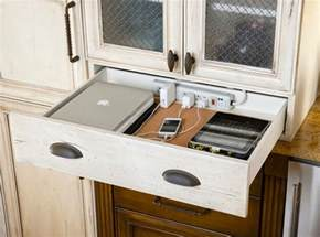 Inside Kitchen Cabinets Ideas mobile device charging stations for a neat and tidy space
