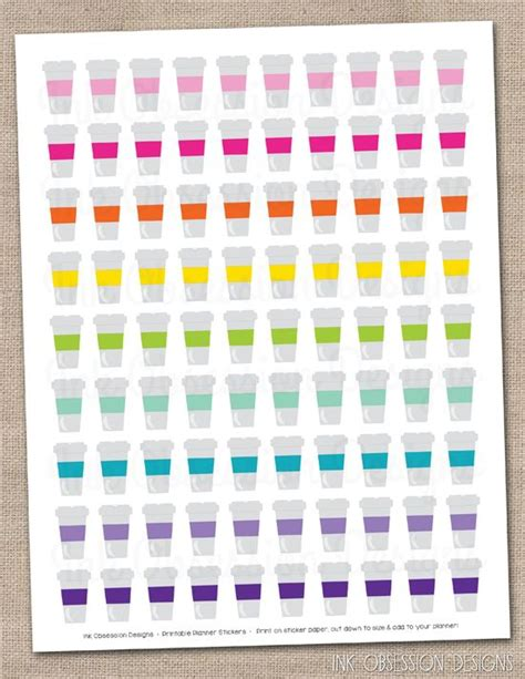 Coffe Cups coffee cups planner stickers instant download diy