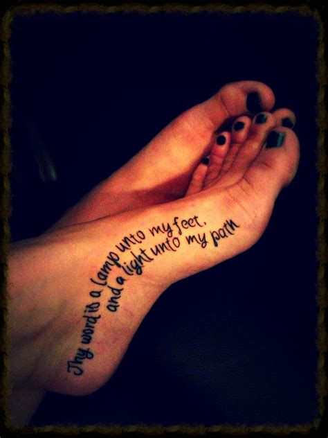 path tattoo foot quot thy word is a l unto my and a light
