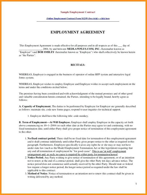 templates for employment contracts template employment contract template