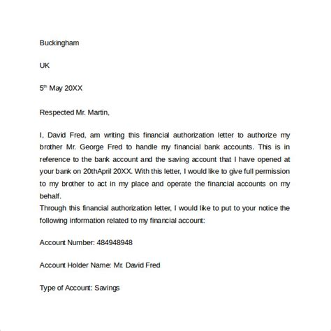bank authorization letter templates ms word