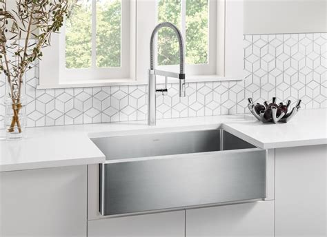 stainless steel apron front sink blanco quatrus r15 apron front kitchen sink blanco