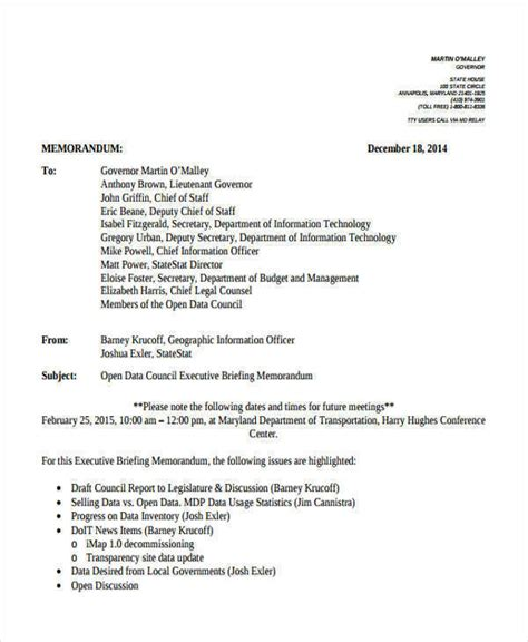 briefing memo template executive memo template 10 exles in word pdf
