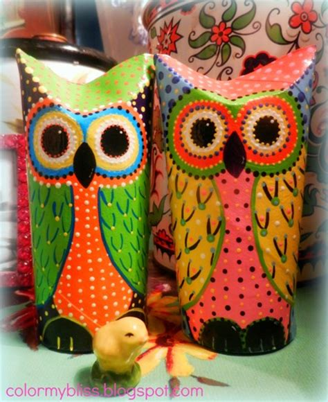 How To Make Owls Out Of Toilet Paper Rolls - color my bliss toilet paper roll owls a peek at