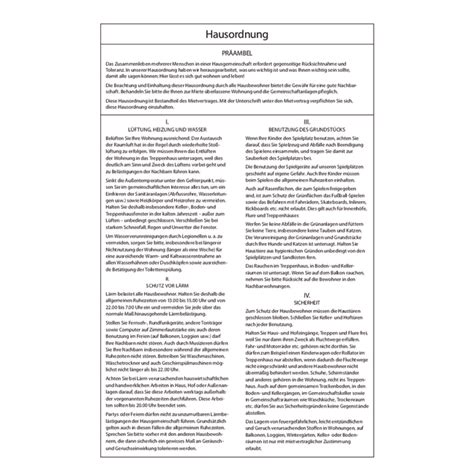 Muster Hausordnung Muster Hausordnung 2010 Pro Bestelleinheit 20