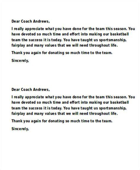 appreciation letter to a coach sle coach thank you letter phone