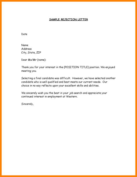 Rejection Letter For Internship 16 Rejection Letter Sle To Applicant Ledger Paper