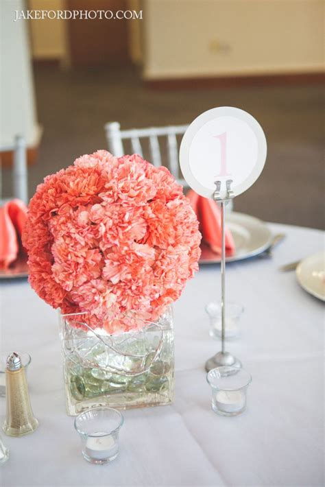 Coral Carnation Ball Centerpiece Modern Coral Gray Coral Centerpiece Ideas