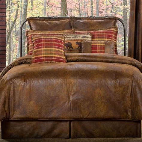 leather bed sheets gatlinburg rustic faux leather comforter bedding