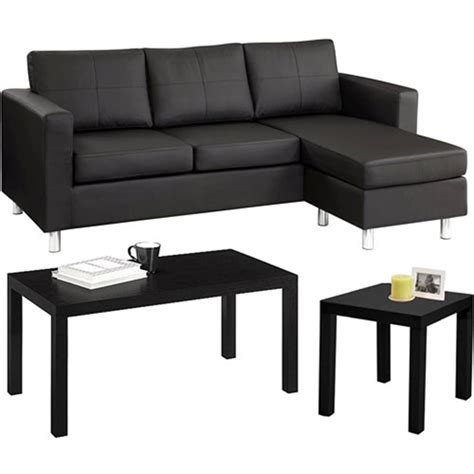 small spaces sectional sofa walmart small spaces living room value bundle walmart com