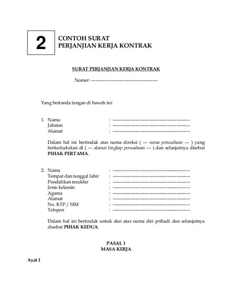 draft surat perjanjian kontrak kerja the knownledge