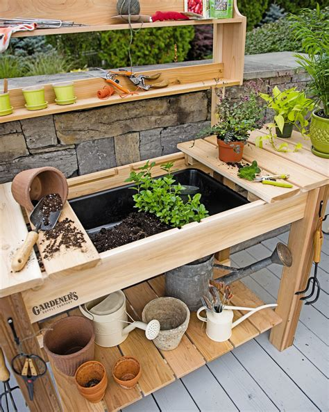 gardeners potting bench potting bench cedar potting table with soil sink and shelves