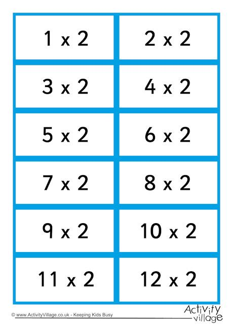 multiplication flash card template free 2 times table flash cards